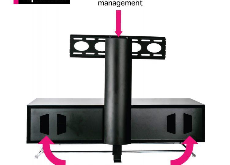 1. Chromium 1200 TV Stand + Bracket Black